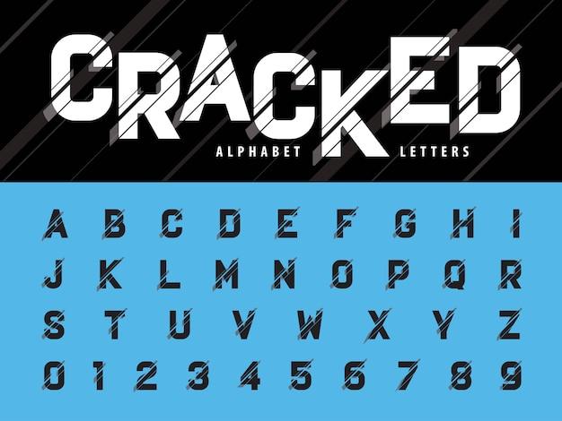 Vector van glitch modern letters en cijfers van het alfabet
