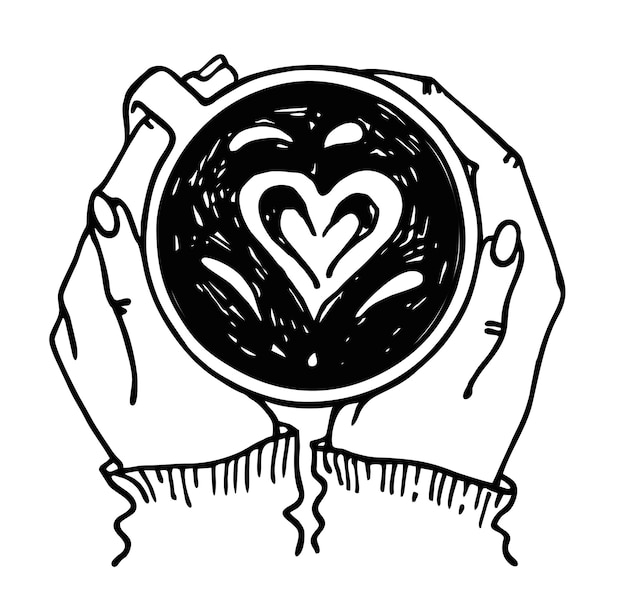 Vector van handen met een kopje hete thee of koffie geïsoleerd verwarmende handen door een mok warme drank
