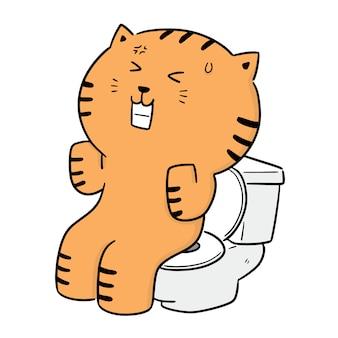 Vector van kat die toilet met net gebruiken