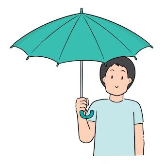 Vector van man met paraplu