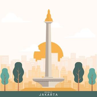Vector van monas-monument van de stad van jakarta