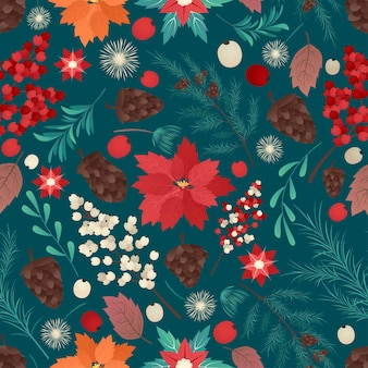 Vector van naadloze kleurrijke natuurlijke kerst achtergrond kerst tijd illustratie wenskaarten sjabloon met bloemen en bloemblaadjes in donkere achtergrond