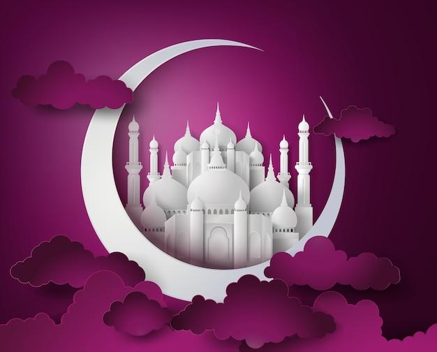 Vector van papier moskee.