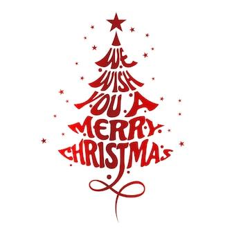 Vector van pine kerstboom, merry christmas typografische poster. eps-10 vector.