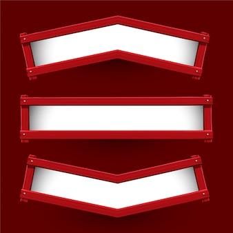 Vector van rood houten bannerontwerp