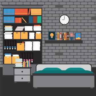 Vector van slaapkamer met muurbaksteen