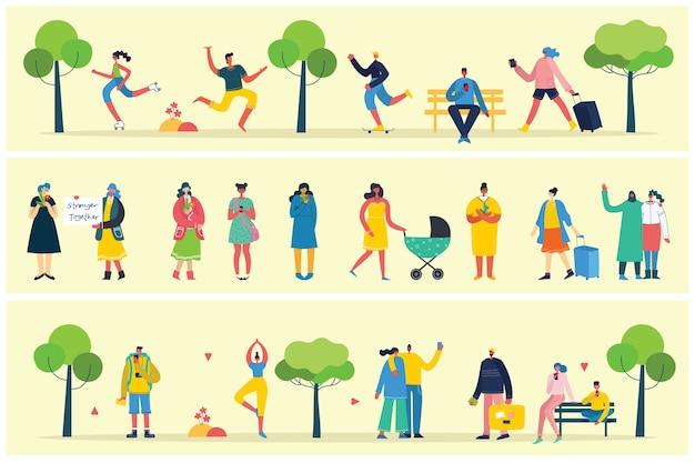 Vector van verschillende mensen, paar activiteiten doen, wandelen en rust buiten, in het bos, park en thuis in de moderne vlakke stijl