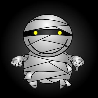 Vector van vriendelijke mummie die naar halloween-feestje loopt