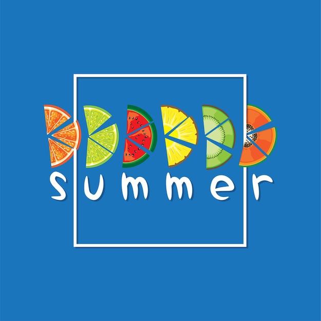 Vector van zomerfruit plak met tekst op blauwe achtergrond
