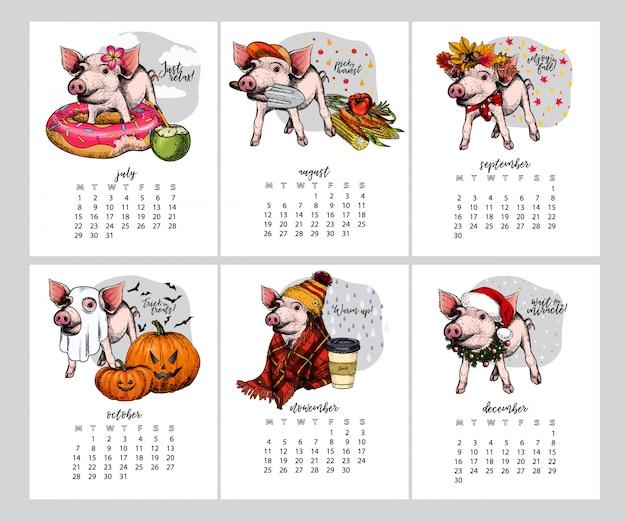 Vector varkenskalender.