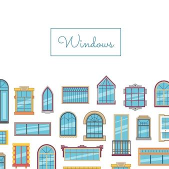 Vector venster platte set met titel