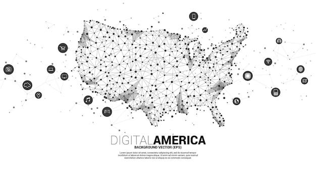 Vector verenigde staten kaart van polygon dot connect lijn met digitale lifestyle icoon. concept voor amerika digitale netwerkverbinding.