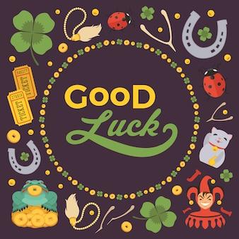 Vector verfraaien ontwerp gemaakt van lucky charms, en de woorden good luck