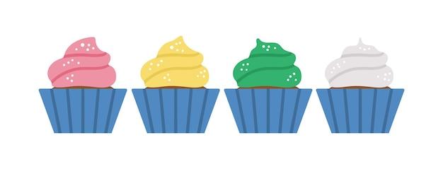 Vector verjaardagsdesserts. leuke grappige viering cupcakes illustratie voor kaart, poster, print ontwerp. helder vakantieconcept voor kinderen met veel gekleurde muffins.