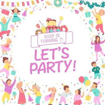 Vector verjaardagsfeestje uitnodiging ontwerpsjabloon met bd taart slingers snoep geschenken confetti