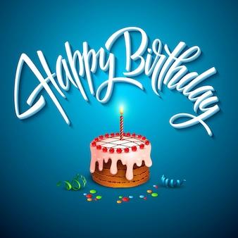 Vector verjaardagstaart met kaarsen