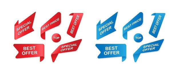 Vector verkoop badges linten en stickers instellen. verkoopbanners geïsoleerd. vectoreps10