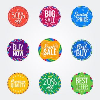 Vector verkoop kleurrijke badges