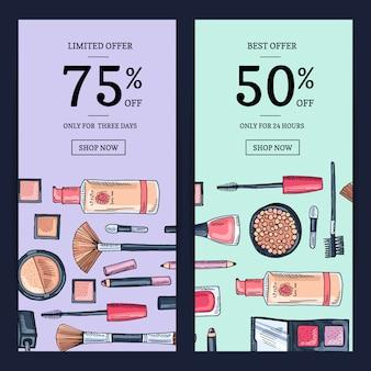 Vector verkoopbanners voor schoonheidswinkel