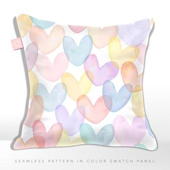 Vector verloopnet aquarel tekening multi kleuren overlappende hart vormen naadloze patroon