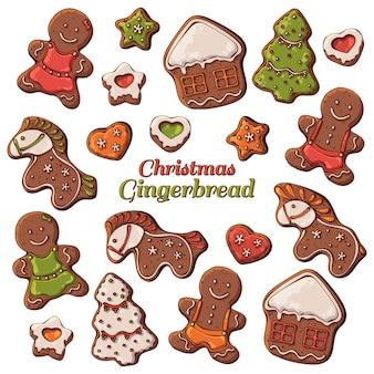 Vector verschillende soorten kerstmis peperkoek.