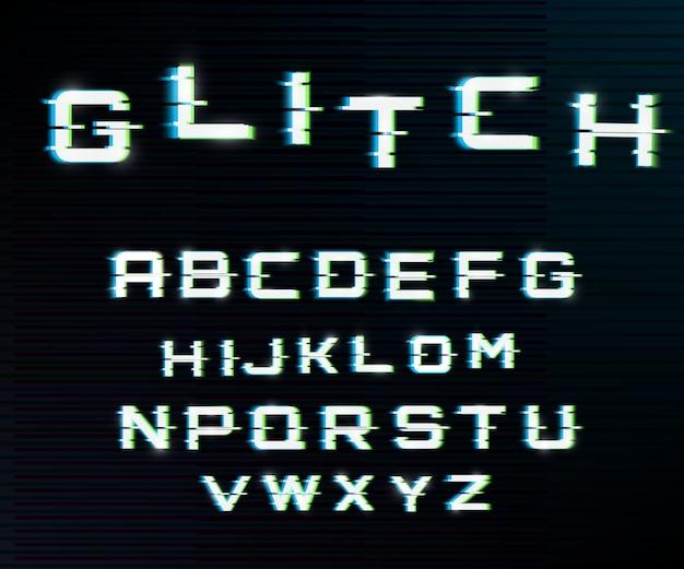 Vector vervormd glitch lettertype