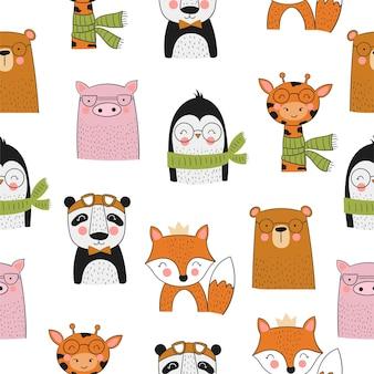 Vector verzameling kaarten schattige handgetekende dieren en slogan banner