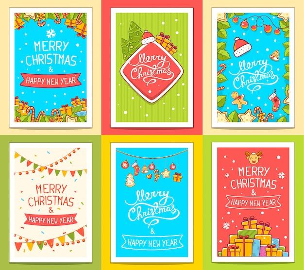 Vector verzameling kerst sjablonen met handgeschreven tekst op lichte achtergrond.