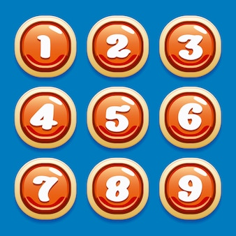 Vector verzameling knoppen voor gaming-interfaces voor mobiele games