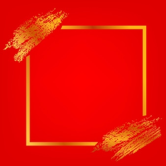 Vector vierkant frame en gouden krijtstreep voor maangerelateerd elementontwerp op rode achtergrond met kleurovergang