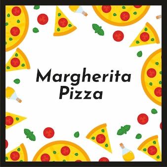Vector vierkant kader van pizza en ingrediënten.