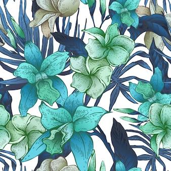 Vector vintage bloemen tropisch naadloos patroon