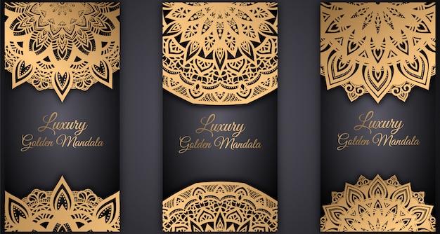 Vector vintage mandala kaart ingesteld gouden kleur