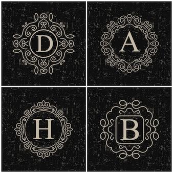 Vector vintage monogram logo set.