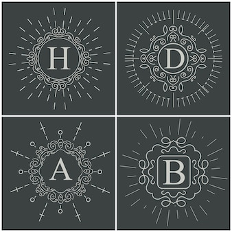 Vector vintage monogram logo.