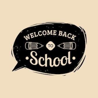 Vector vintage welkom terug naar school label. kinderen onderwijs icoon. kennisdag ontwerpconcept.