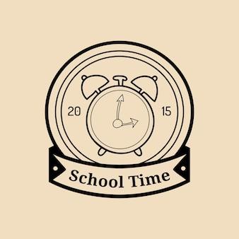 Vector vintage welkom terug naar school logo of badge. retro bord met wekker. kinderen onderwijs icoon. kennisdag ontwerpconcept.