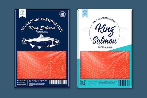 Vector vis vlakke stijl verpakkingsontwerp. illustraties van zalm, forel, tonijn en alaska koolvis en visvleestextuur voor verpakking, visserij, reclame, enz