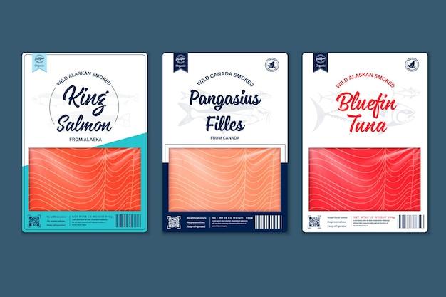Vector vis vlakke stijl verpakkingsontwerp. illustraties van zalm, pangasius, tonijn en texturen van visvlees