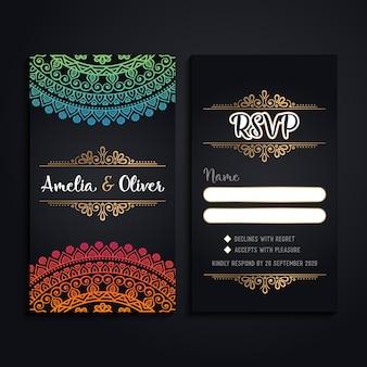 Vector visitekaartjes vintage decoratieve elementen met mandala
