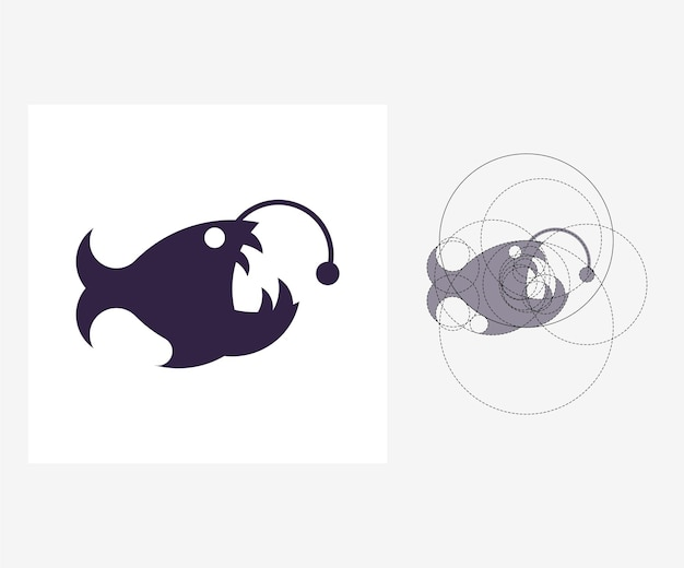 Vector visser vis in gulden snede stijl. bewerkbare illustratie