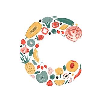 Vector vitamine c ascorbinezuur bronnen set fruit, groenten en bessen collectie