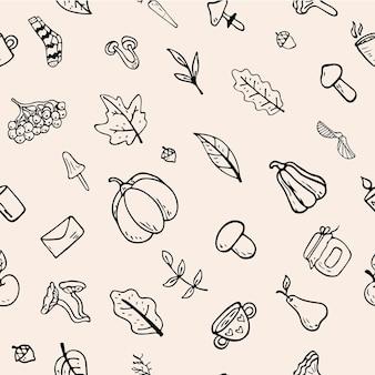 Vector vlakke afbeelding naadloze patroon op een herfstthema: paddestoelen, groenten, bladeren, schattige attributen. doodle-objecten worden uitgesneden. achtergrond decoratie.