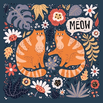 Vector vlakke hand getrokken illustraties. leuke katten met planten en bloemen.