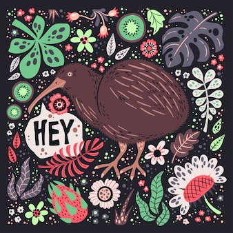 Vector vlakke hand getrokken illustraties. leuke kiwivogel met planten en bloemen.