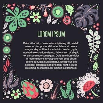 Vector vlakke hand getrokken planten, fruit en bloemen. plaats voor uw tekst.