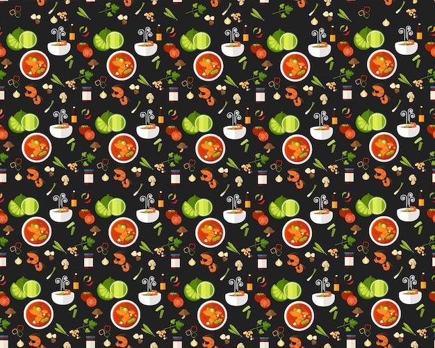 Vector vlakke naadloze thaise keuken van het textuurpatroon