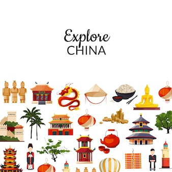 Vector vlakke stijl china elementen en bezienswaardigheden achtergrond illustratie met plaats voor tekst
