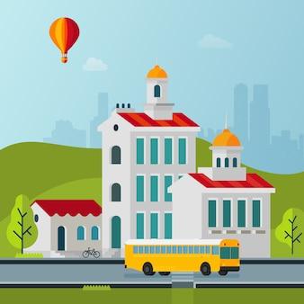 Vector vlakke stijl stadsgezichten gebouwen illustratie