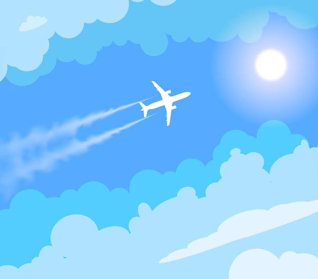 Vector vliegend vliegtuig in de zonnige blauwe hemel.